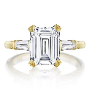 Tacori 18k Yellow Gold RoyalT 3 Stone Diamond Engagement Ring