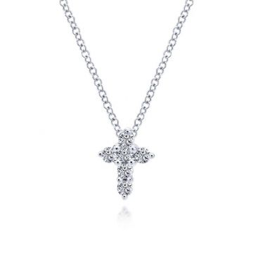 Gabriel & Co. 14k White Gold Faith Diamond Necklace
