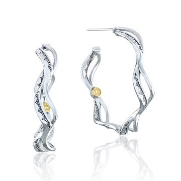 Tacori Sterling Silver Crescent Cove Hoop Earring