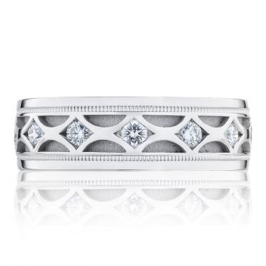 Tacori 18k White Gold Decorative Men's Wedding Band