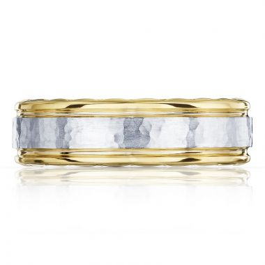Tacori 18k Yellow, White Gold Mixed Finish Men's Wedding Band
