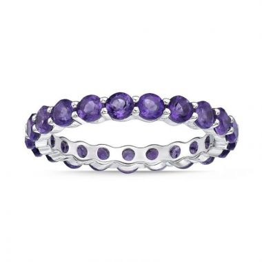 La Masters Couture SIZE 6 Sterling Silver 3mm Round Amethyst Eternity Band