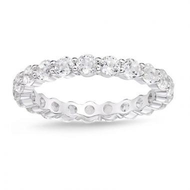 La Masters Couture SIZE 7 Sterling Silver 3mm Round White Topaz Eternity Band