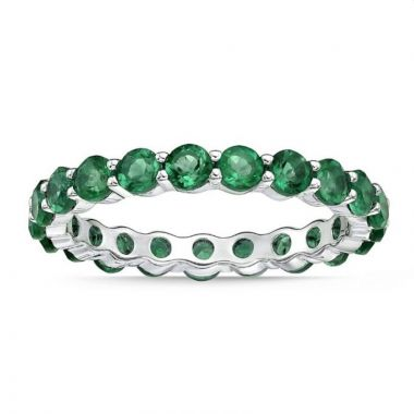 La Masters Couture SIZE 6 Sterling Silvers 3mm Round Created Emerald Eternity Band