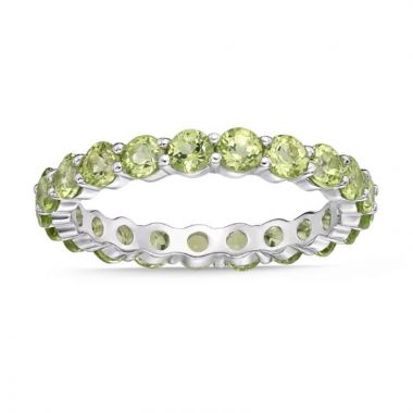 La Masters Couture SIZE 7 Sterling Silver 3mm Round Peridot Eternity Band