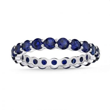 La Masters Couture SIZE 7 Sterling Silver 3mm Round Created Blue Sapphire Eternity Band