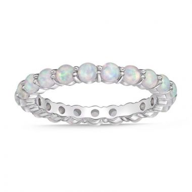 La Masters Couture SIZE 7 Sterling Silver 3mm Round Created Opal Eternity Band