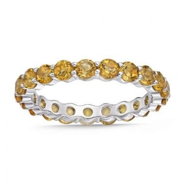 La Masters Couture SIZE 7 Sterling Silver 3mm Round Citrine Eternity Band