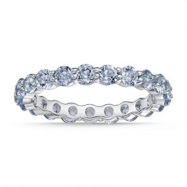 La Masters Couture SIZE 7 Sterling Silver 3mm Round Created Aquamarine Eternity Band
