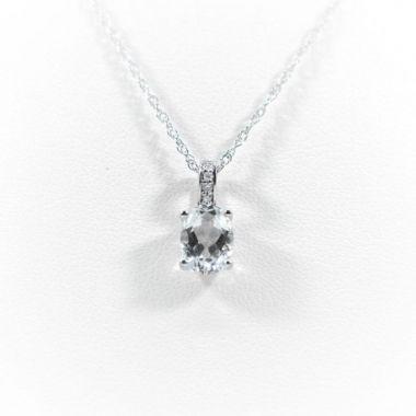 La Masters Couture 14 KT White Gold Oval White Topaz Pendant W/ Diamond Set Bale