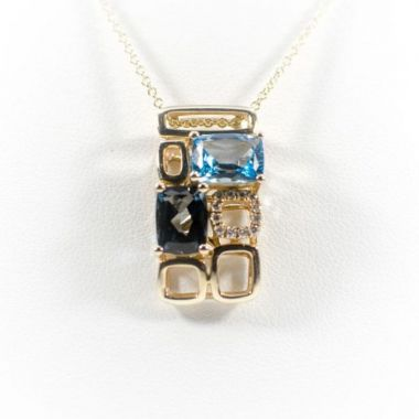 La Masters Couture 14 KT Gold Radiant Cut Blue Sky/London Blue Topaz Pendant W/ Accent Diamonds