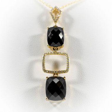 La Masters Couture 14 KT Gold Checkerboard Cut Onyx Pendant W/ Accent Diamonds
