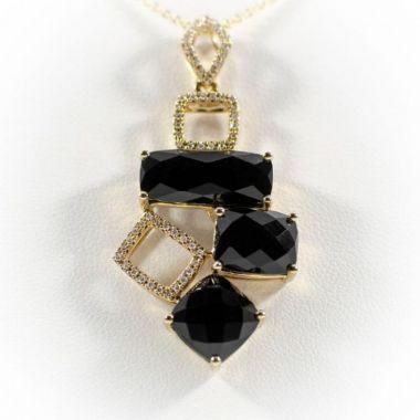 La Masters Couture 14 KT Gold Checkerboard Cut Onyx Geometric Pendant W/ Accent Diamonds