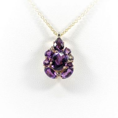 La Masters Couture 14 KT Gold Checkerboard and Round Amethyst Pendant W/ White Topaz Accents