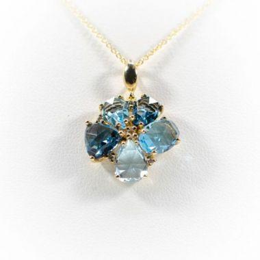 La Masters Couture 14 KT Gold Checkerboard Cut Blue Topaz Flower Pendant W/ Accent Diamonds