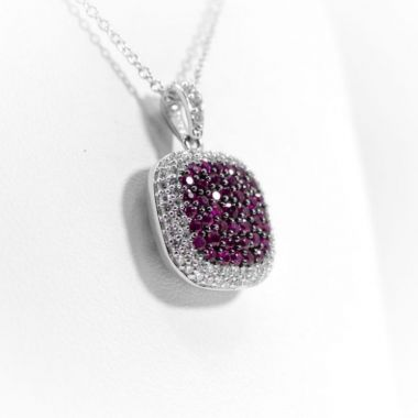 La Masters Couture 14 KT White Gold and Natural Ruby in Black Settings Cushion Pendant W/ Diamond Halo