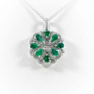 La Masters Couture 14 KT White Gold Teardrop Emerald Four Leaf Clover Pendant W/ Diamond Halo
