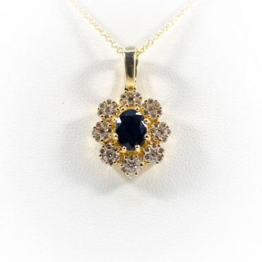 La Masters Couture 14 KT Gold Oval Natural Sapphire Pendant W/ Floral Diamond Halo