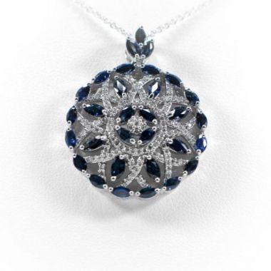 La Masters Couture 14 KT White Gold Natural Sapphire Flower Pendant W/ Diamond Accents