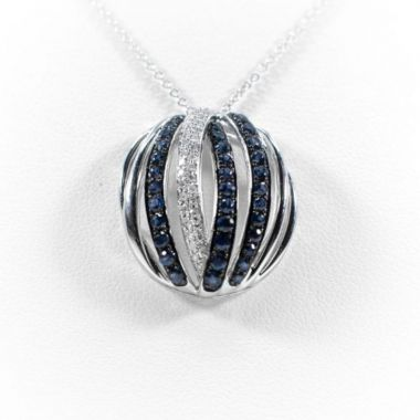 La Masters Couture 14 KT White Gold Round Natural Sapphire Pendant  W/  Diamond Accents