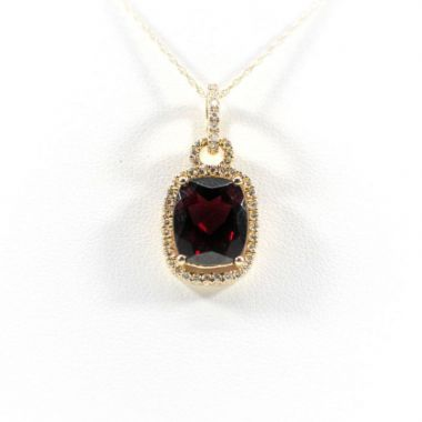 La Masters Couture 14 KT Gold Rectangle Rhodalite Garnet Pendant W/ Diamond Halo