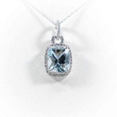 La Masters Couture 14 KT White Gold Recangle Aquamarine Pendant W/ Diamond Halo