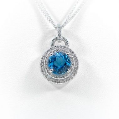 La Masters Couture 14 KT White Gold Checkerboard Cut Blue Topaz Pendant and Layered Chain W/ Two Dimaond Halos