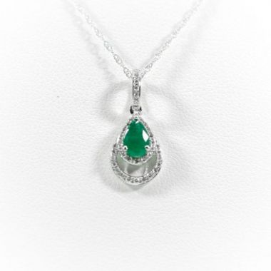 La Masters Couture 14 KT White Gold Teardrop Emerald Pendant W/ Teardrop Shaped Diamond Halo