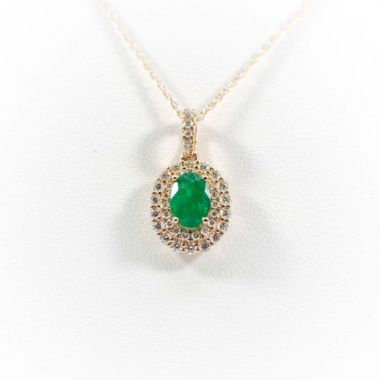 La Masters Couture 14 KT Rose Gold Oval Emerald Pendant W/ Oval Diamond Halo
