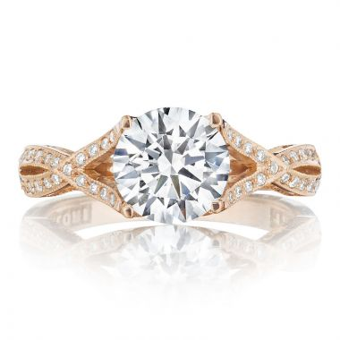 Tacori 18k Rose Gold Ribbon Criss Cross Diamond Engagement Ring