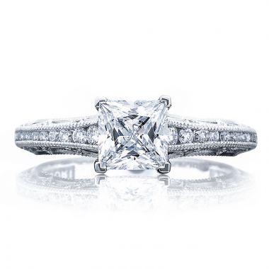 Tacori Platinum Reverse Crescent Straight Diamond Engagement Ring