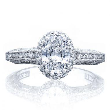 Tacori 18k White Gold Reverse Crescent Halo Diamond Engagement Ring