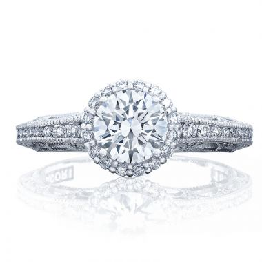 Tacori Platinum Reverse Crescent Halo Diamond Engagement Ring