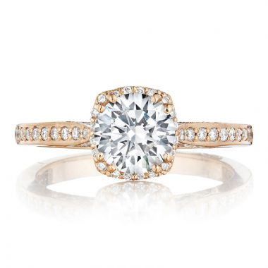 Tacori 18k Rose Gold Dantela Straight Diamond Engagement Ring