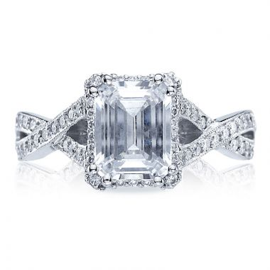Tacori 18k White Gold Dantela Criss Cross Diamond Engagement Ring