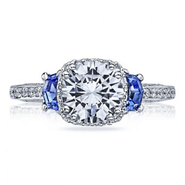 Tacori Platinum Dantela Diamond & Gemstone 3 Stone Halo Engagement Ring
