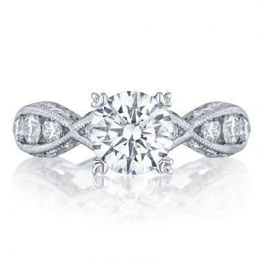 Tacori Platinum  Classic Crescent Criss Cross Diamond Engagement Ring