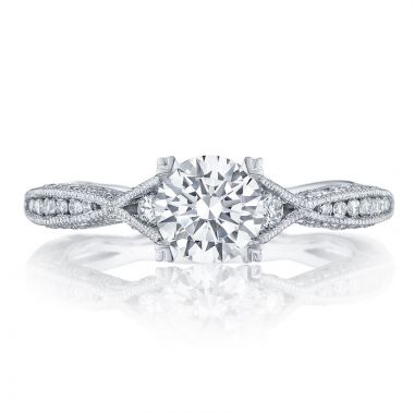 Tacori 18k White Gold Classic Crescent Straight Diamond Engagement Ring
