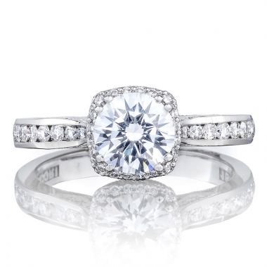 Tacori 18k White Gold Dantela Halo Diamond Engagement Ring