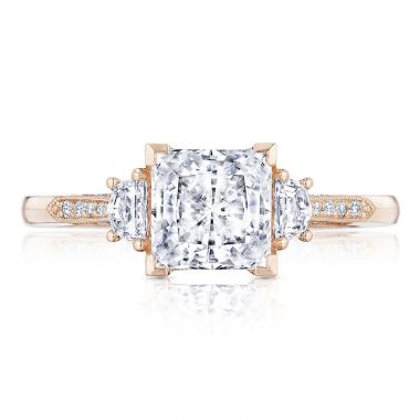 Tacori 18k Rose Gold Simply Tacori 3 Stone Diamond Engagement Ring