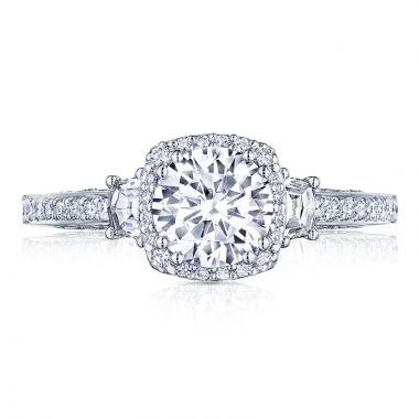 Tacori Platinum Dantela 3 Stone Halo Engagement Ring