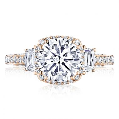 Tacori 18k Rose Gold Dantela 3 Stone Halo Engagement Ring
