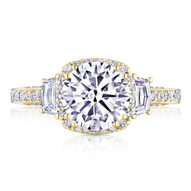 Tacori 18k Yellow Gold Dantela 3 Stone Halo Engagement Ring