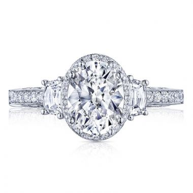 Tacori 18k White Gold Dantela 3 Stone Halo Engagement Ring
