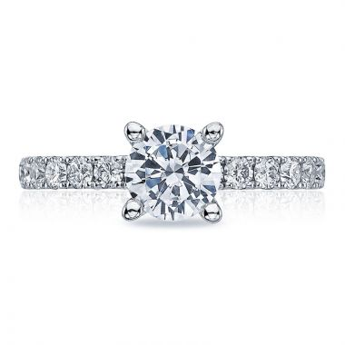 Tacori Platinum Clean Crescent Straight Diamond Engagement Ring