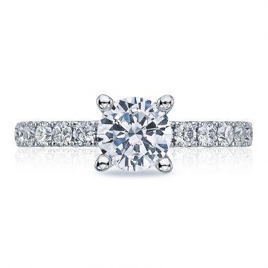 Tacori Platinum Clean Crescent Straight Diamond Engagement Ring