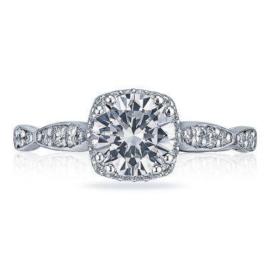 Tacori Platinum Dantela 3 Stone Halo Engagement Ring