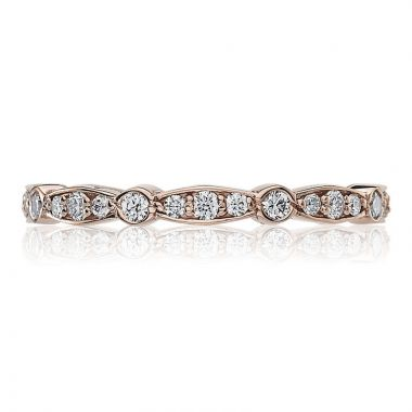 Tacori 18k Rose Gold Sculpted Crescent Eternity Diamond Women's Wedding Band