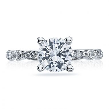 Tacori Platinum Sculpted Crescent Straight Diamond Engagement Ring