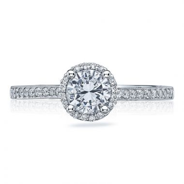 Tacori 18k White Gold Sculpted Crescent Halo Diamond Engagement Ring